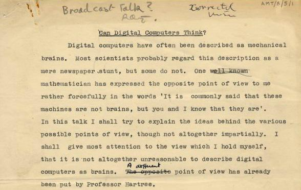 papers written by alan turing Browse the images of letters, papers and photos from the turing archive.