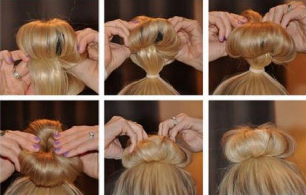 Прическа с бубликом для волос пошаговое фото