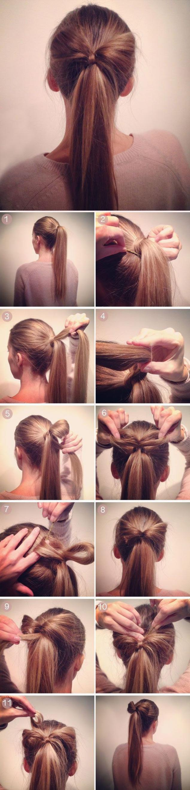 Бант из волос на хвостике