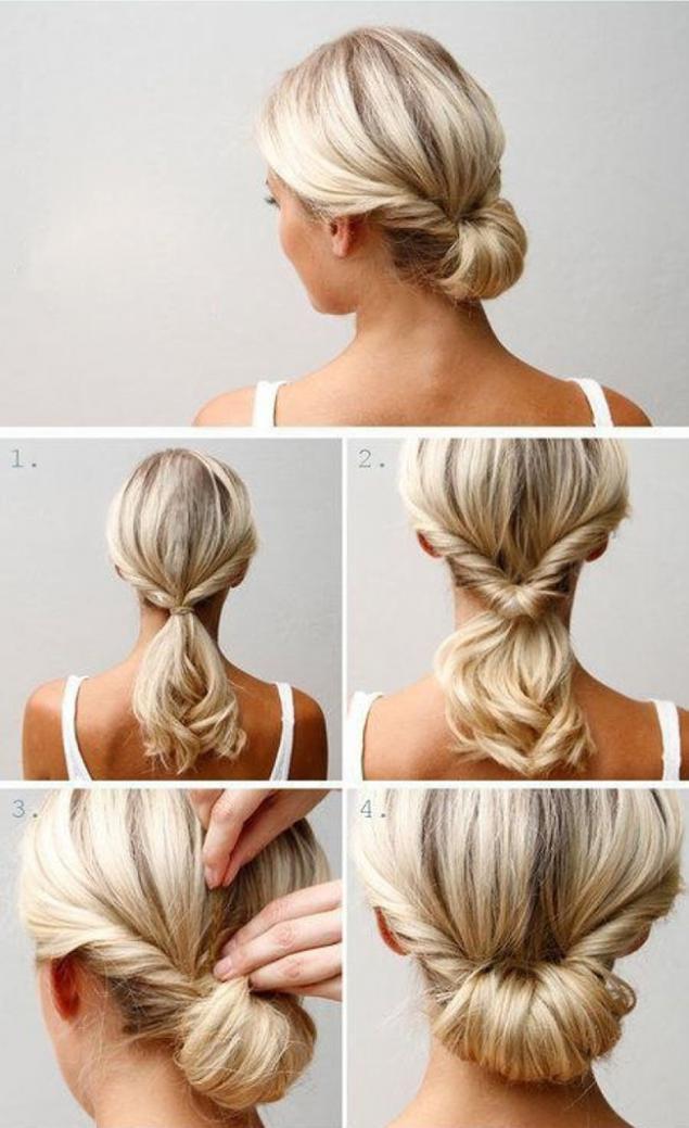 Как быстро заколоть волосы средней длины фото