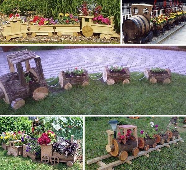 Декоративные паровозики из дерева для сада своими руками 71