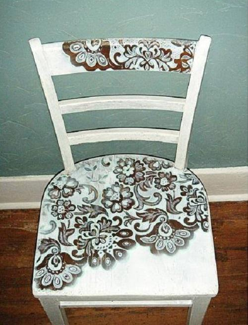 This woman makes decoupage using curtains and spray paint. It looks awesome!. Page 1