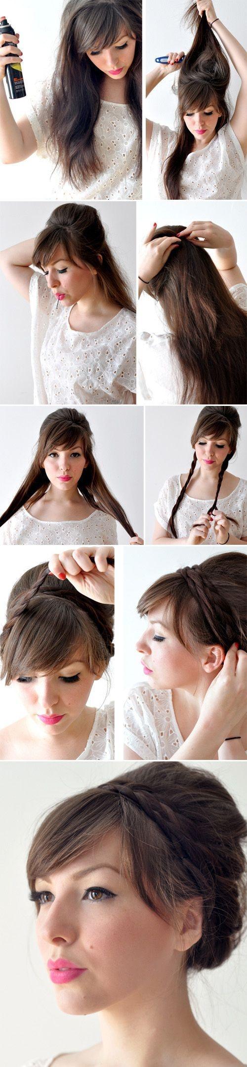 Причёски на длинные волосы с чёлкой фото в школу