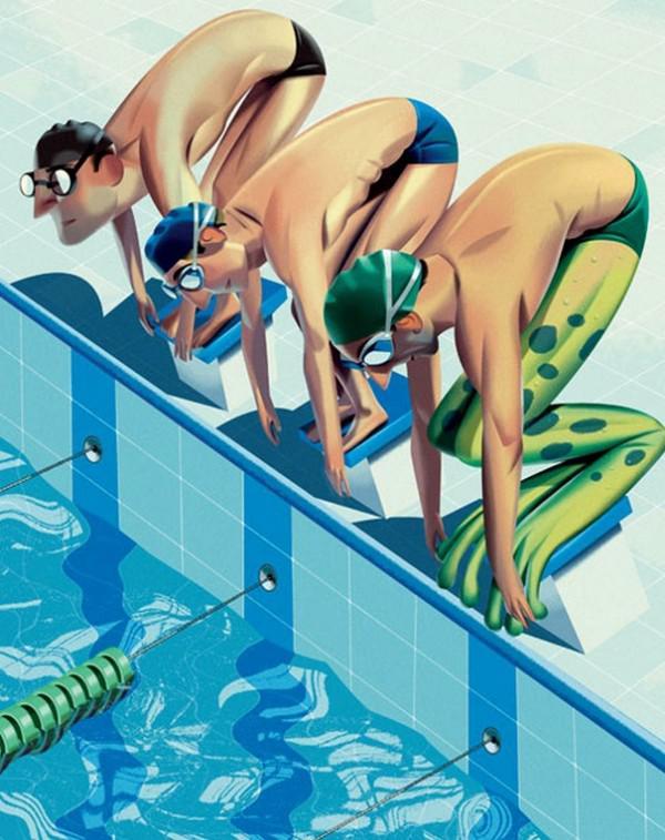 Смешной пловец рисунок