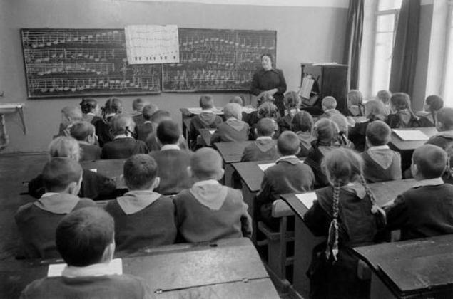 Aula educación  tradicional en 1950