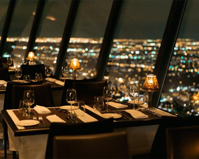 Revolving dining room skylon tower