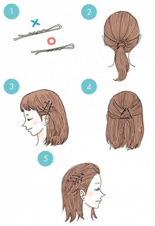 Прическа невидимками на короткие волосы