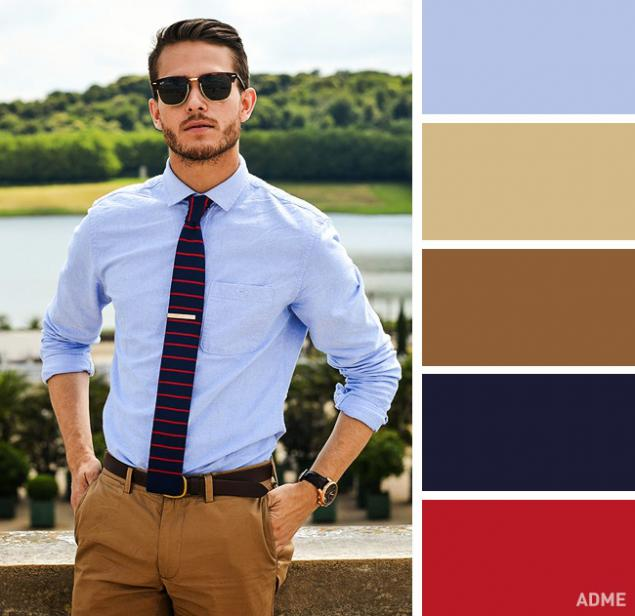 С чем сочетается синий цвет мужская одежда