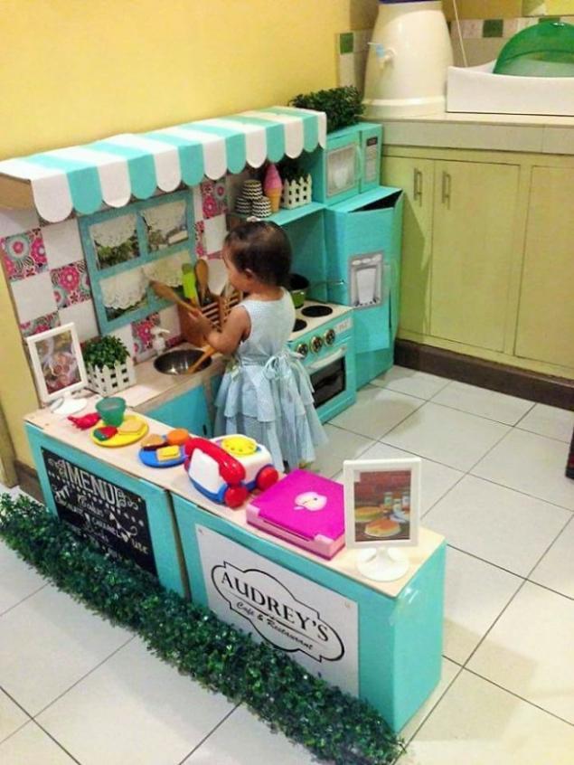 Детская кухня своими руками из коробок инструкция