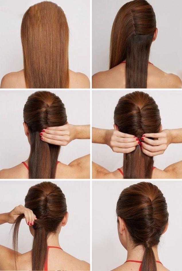 Как сделать хвост только из волос 789