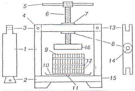 Пресс для отжима сока своими руками из домкрата чертежи 40