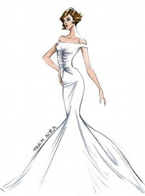 Эскиз свадебного платья для открытки
