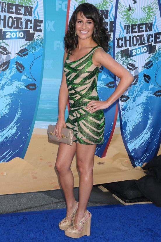 Lea michele in short dress with epic cleavage 8