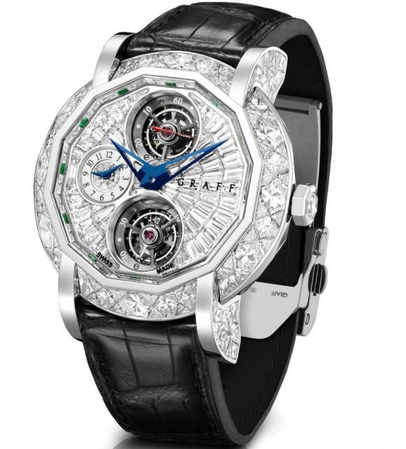 Мужские часы с бриллиантами MasterGraff Double Tourbillon GMT