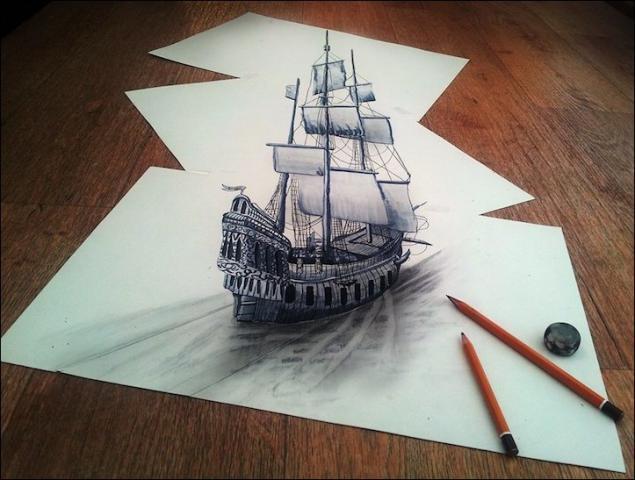Dibujos a lapiz en 3D dificiles - Imagui