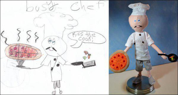 儿童从图纸制作毛绒玩具