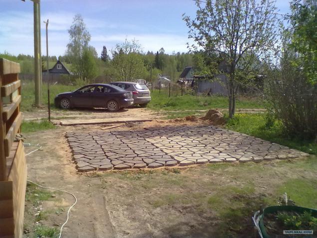 Как сделать парковку для машины на даче  157