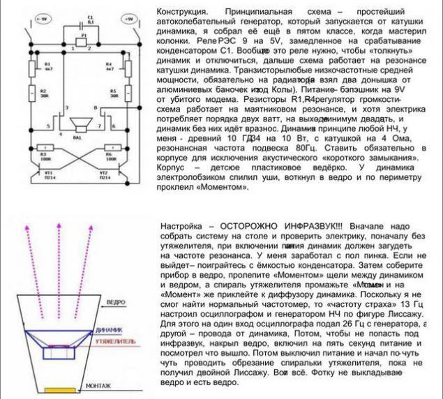Принципиальная схема генератора инфразвука