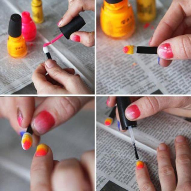 Как в домашних условиях сделать цветной маникюр